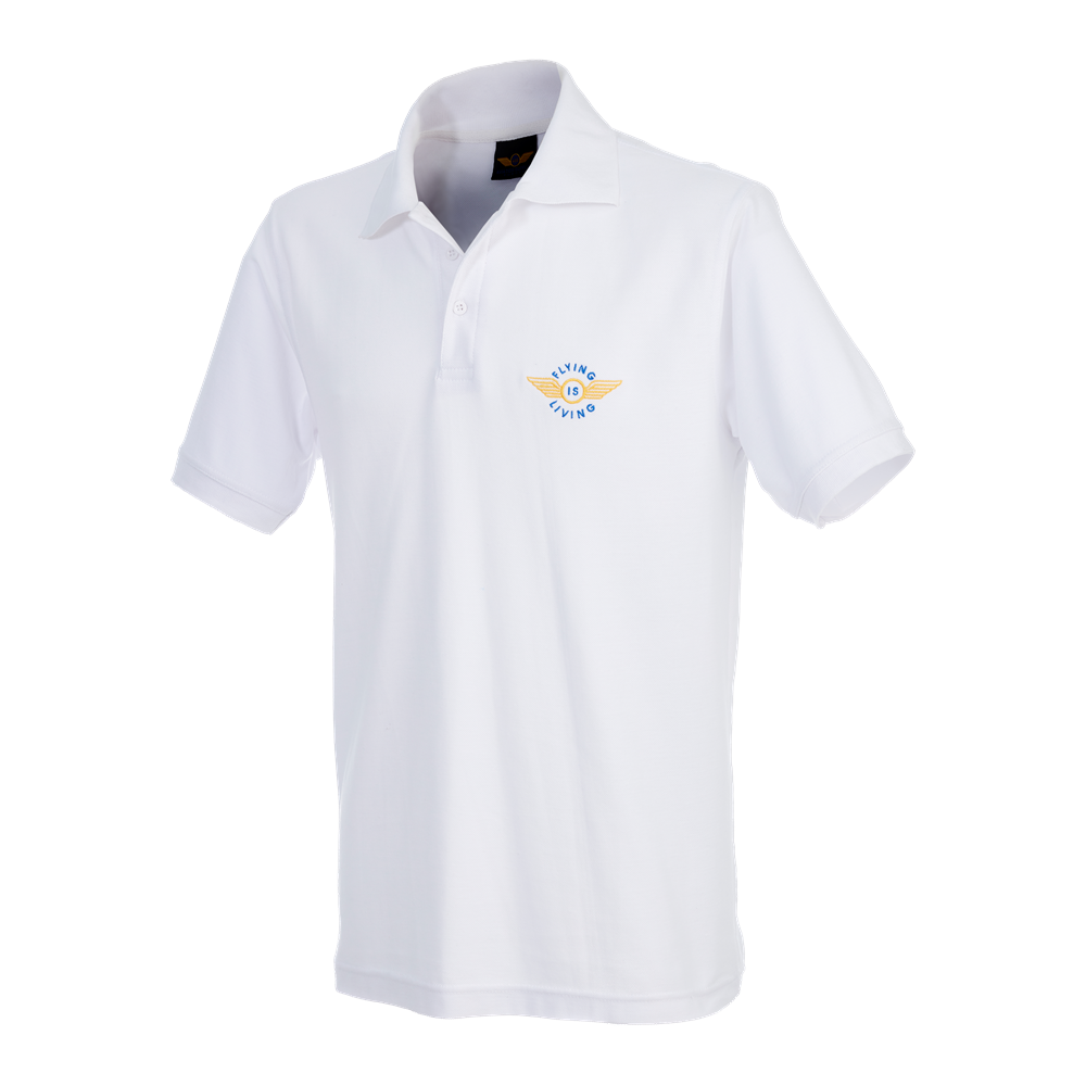"Poloshirt ""Flying is Living"" Small, White"